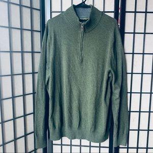 Eddie Bauer cashmere blend green sweater 1/4 zip